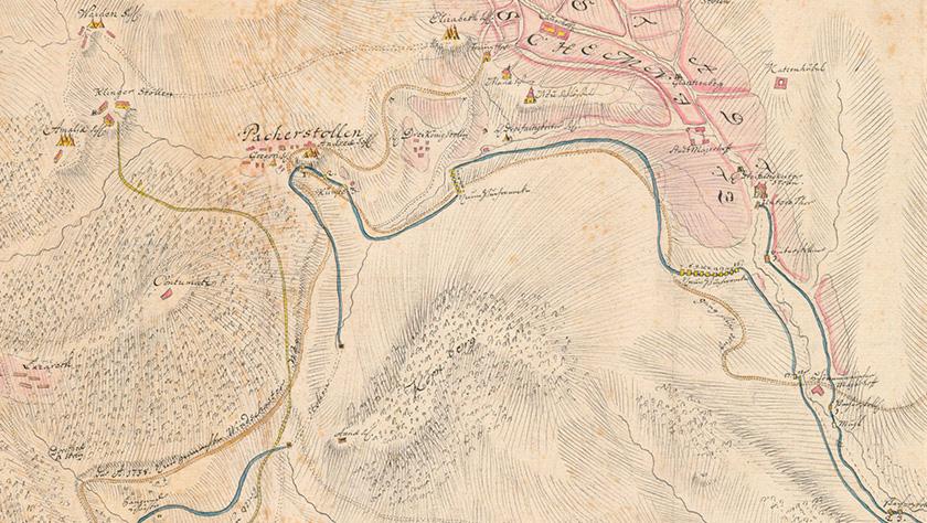 A Pacherstollen akna a történelmi térképen. Forrás: Állami Központi Bányászati Levéltár