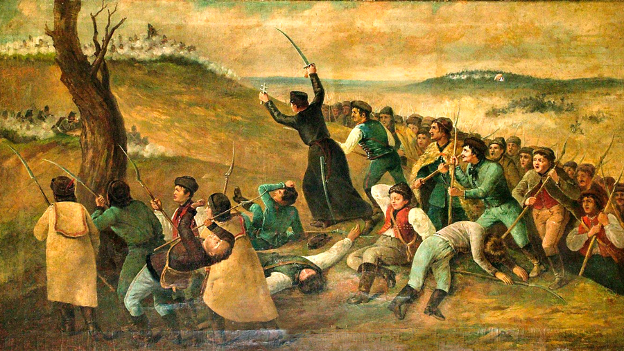 Padre Imrich Erdösi leading the victorious army in the Battle of Branisko. Resource: István Gál: Piaristák a szabadságharcban (Piarists in Fight for Freedom)