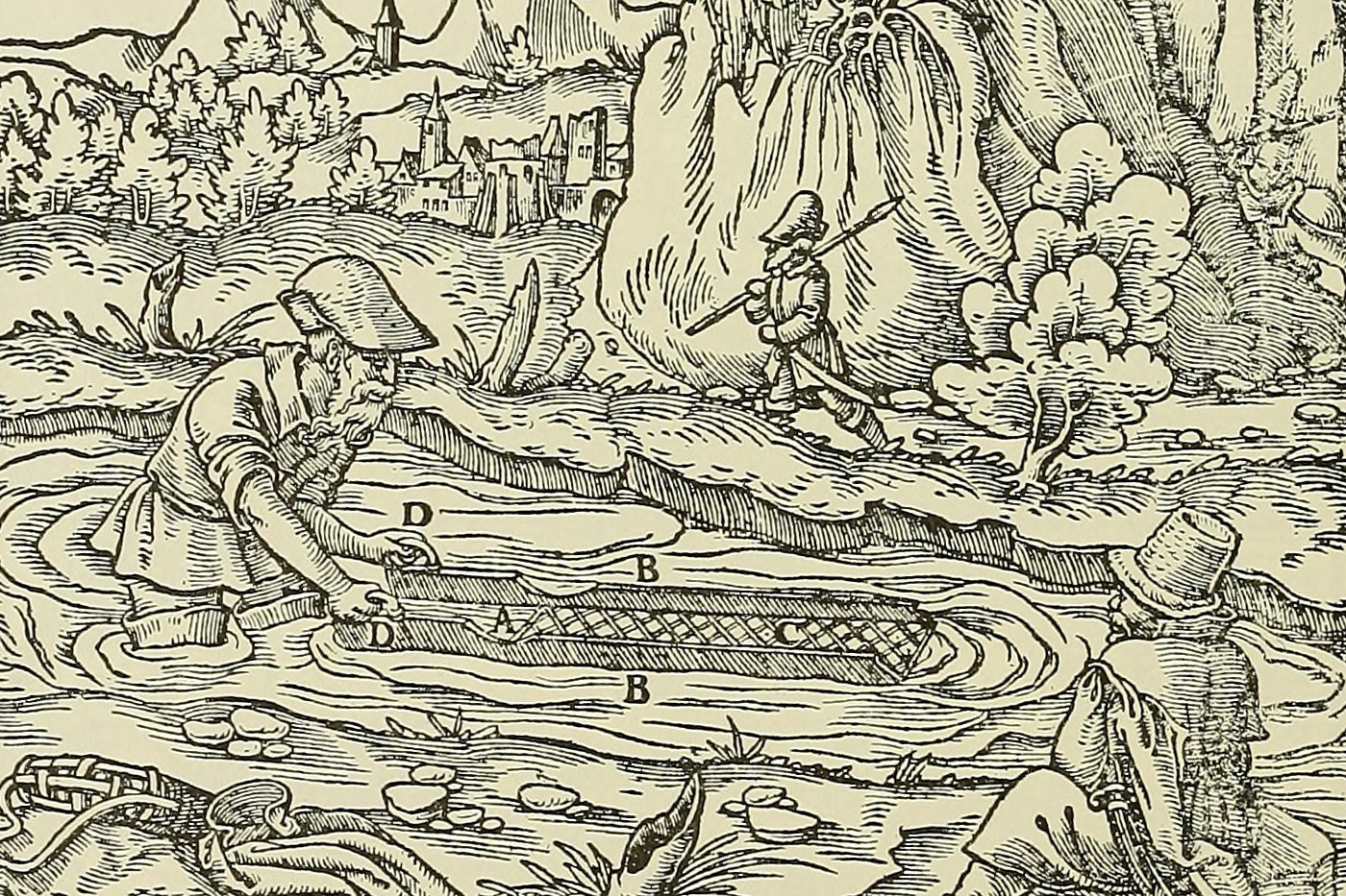 This is the way Gregorius Agricola (1494 – 1555), considered the founder of mineralogy, depicted gold panning at a river. The picture is from his publication Twelve Books on Mining, which was the most used guide for ore mining and smelting for about 200 years. Resource: Boston Library Consortium Member Libraries