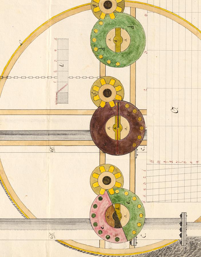 Nákres vodného čerpacieho stroja od Lorenza Municha z roku 1795. Zdroj: MV SR, SNA - Slovenský banský archív, inv. č. 641