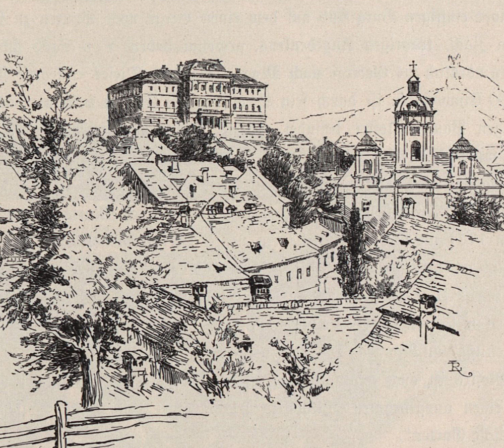 The building of the Mining and Forestry Academy, built in neo-renaissance style in 1889. Before teaching started here, it had been conducted in other buildings in town, the Berggericht; the Belházy, Žember, Fritz and Krečmáry houses; the Fortuna building; and the old hospital. Resource: Digitalised version of the book The Austro-Hungarian Monarchy in Word and Picture