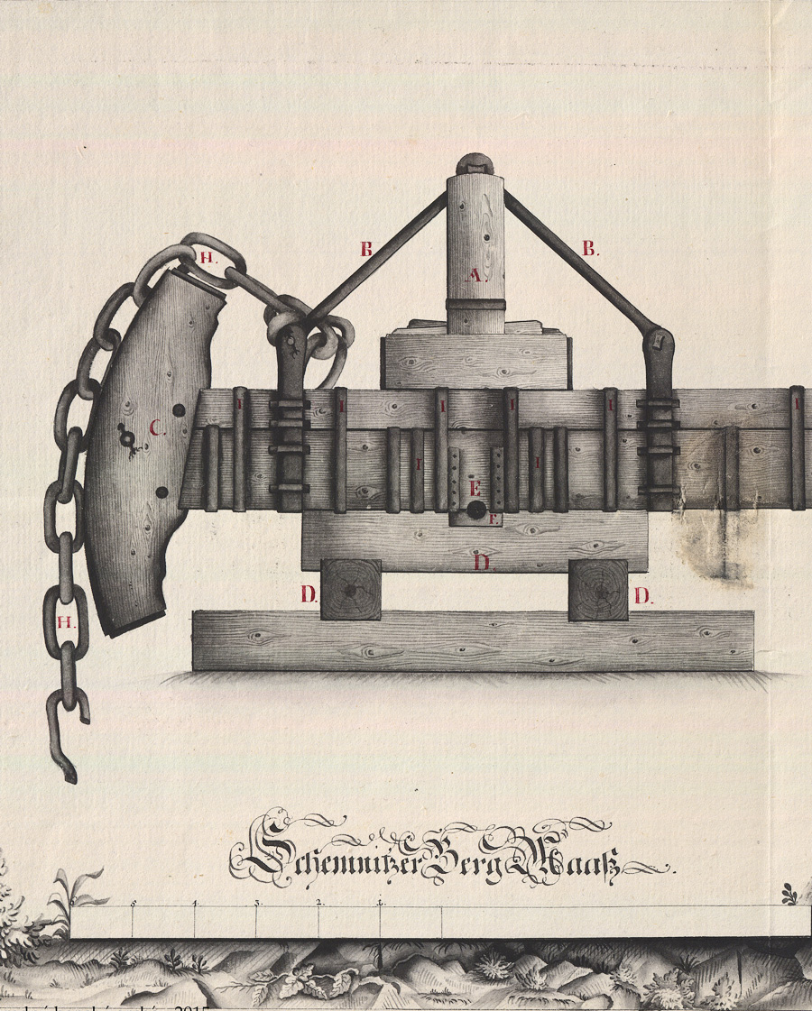 Pumping machine in Banská Štiavnica, 1778. Resource: Central State Mining Archive, Registry No.: 619
