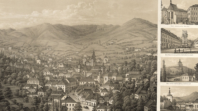 Buildings dominating Banská Štiavnica, lithography by Hugo Löschinger. Resource: Austrian National Library