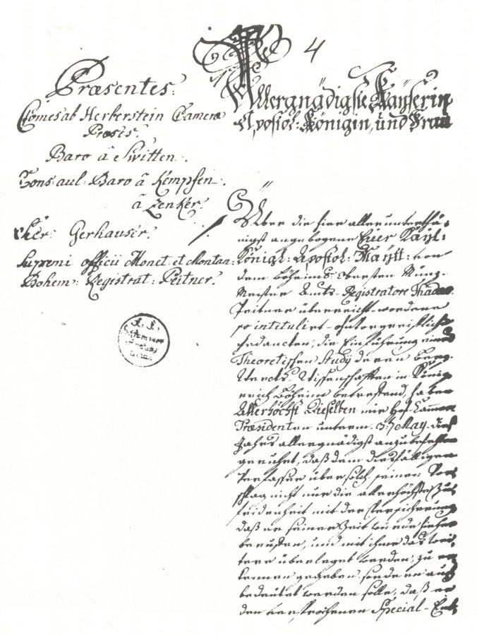 Maria Theresa's 1762 order founding the Mining Academy in Banská Štiavnica. Resource: University in Miskolc