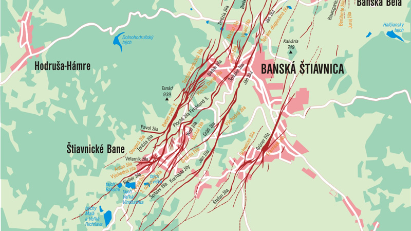 Occurrence of veins in Banská Štiavnica and its surroundings. Resource: Lubo Lužina