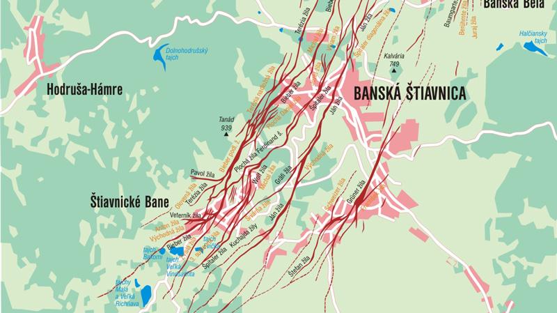 Aranytelérek előfordulása Selmecbányán és környékén. Forrás: L. Lužina
