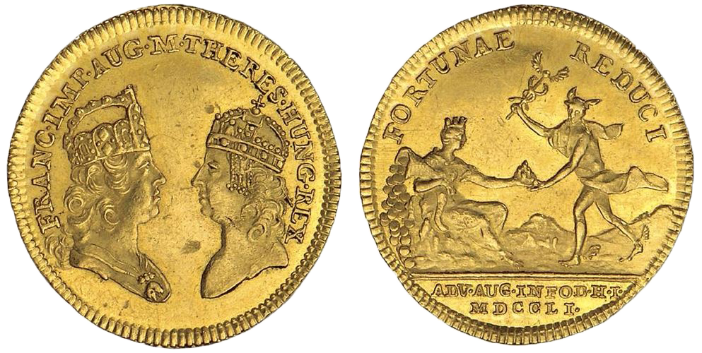 Gold medals of medium size, which Francis I dedicated to royal guests, officers, including military officers, and other important personages during his visit to mining towns on 4 July 1751. Resource: NBS (National Bank of Slovakia) – Museum of Mints and Medals Kremnica, fund of medals, enlisted under No.: K2-3Au/1890
