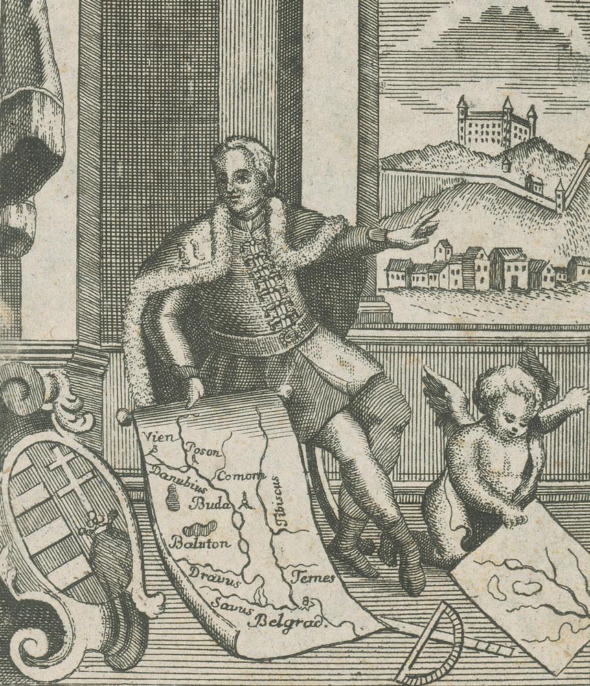 Samuel Mikovíni s mapou Uhorska na rytine Sebastiana Zellera. Zdroj: Slovenská národná galéria