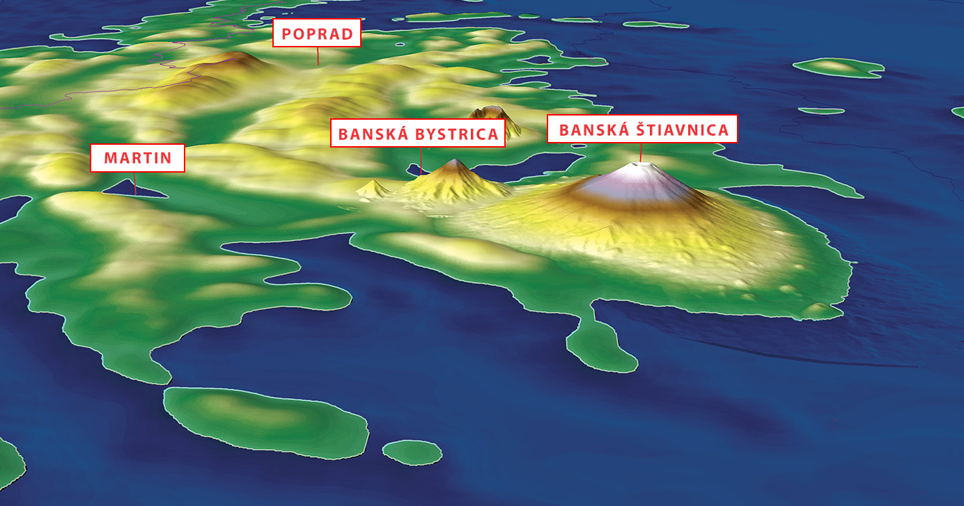When a series of volcanic eruptions occurred in the shallow warm sea which once covered our region, a ring of volcanic mountains arose approximately 50 to 100 kilometres from the then Fatra-Tatra mountainous coast. Today, this ring spreads from the Kremnica Hills, through the Štiavnica Hills, the Poľana and Cerová Mountains in Slovakia, the Matra, Bükk, and Tokaj Mountains in Hungary, and ends again in Slovakia in the area of the Slanské Hills. Resource: Dušan Kočický