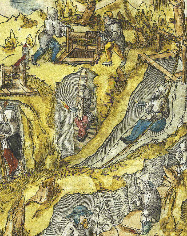 Various forms of transport to mines in the 16th c., depicted in Agricola's publication Twelve Books on Mining. Resource: Boston Library Consortium Member Libraries