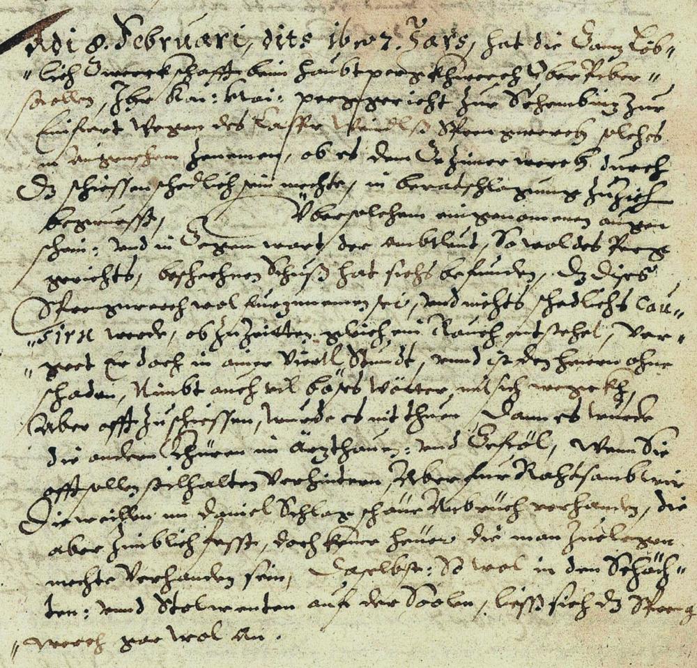 Záznam protokolu o použití pušného prachu na nevojenské účely, ktorý úspešne zrealizoval Gašpar Weindl 8. februára 1627. Zdroj: Slovenský banský archív, inv. č. 102