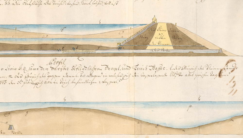 Profile map of the Richňava water reservoir, 1743. Resource: Central State Mining Archive, Registry No.: 569