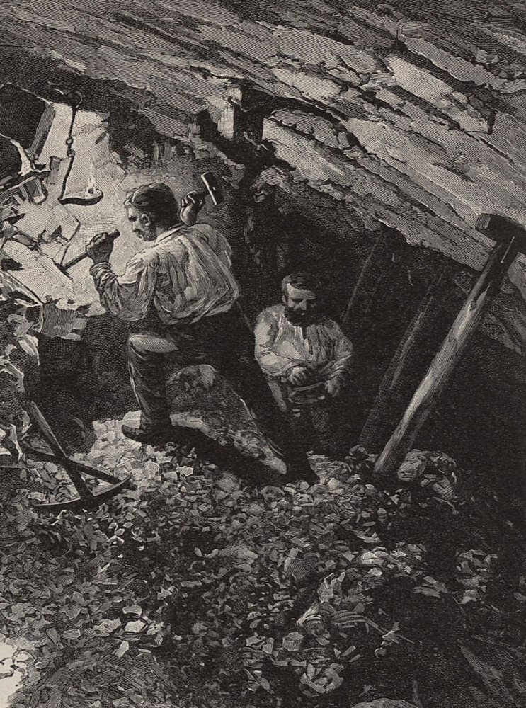 Manual excavation of ore. Drawing: Ladislaus Kimnach. Resource: Digitalised version of the book The Austro-Hungarian Monarchy in Word and Picture