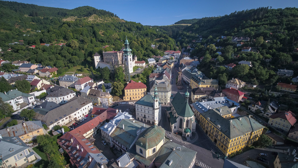 Aerial view of Banská Štiavnica, a town you can browse through like an open book. Resource: Gashpar Creative