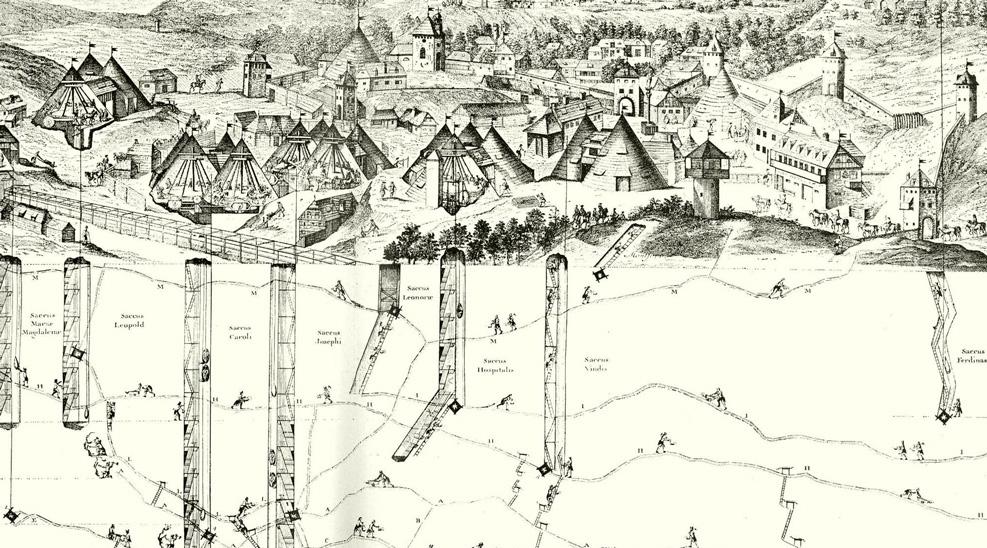 Ťažba v Štiavnických Baniach na kresbe od Luigiho Ferdinanda Marsigliho publikovanej v roku 1726 v práci Danubius Pannonico Mysicus. Zdroj: Europeana, nemecká fototéka
